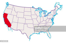 map of usa california highlighted in stock illustration