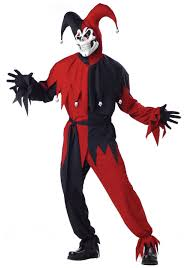 Evil Clown Halloween Costume Scary Jester Costume Mens Halloween Scary Clown Costumes