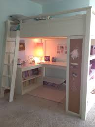 white painted wooden girls loft bed with corner desk and