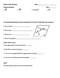 lines rays and line segments worksheets points lines and planes worksheet by mrs ungaro tpt