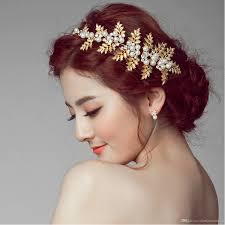 hair decoration 2017 vintage gold leaf hair collar wedding wedding dress