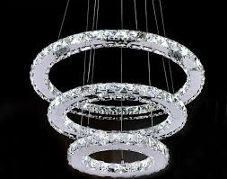 modern chrome chandelier crystals diamond ring led lamp stainless steel hanging light fixtures adjule cristal led re in chandeliers from lights