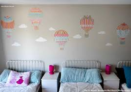 Nursery Decor Wall Stickers Air Balloons Sky Clouds Wall Print Fabric Wall Decal Nursery