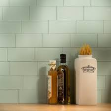 Tile Backsplash In Kitchen Aspect Peel And Stick Backsplash 3in X 6in Morning Dew Glass