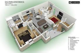 one bedroom apartment plan and 3d design floor plan 2 bedroom