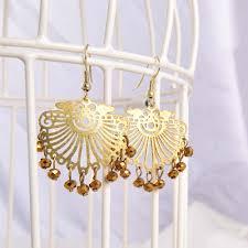 golden brown jali design chandelier fancy earring