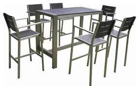 powder coated aluminum outdoor dining table ally 7 piece dining set contemporary outdoor sets throughout