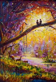 paint dream original oil painting lovers in dream forest of love on canvas