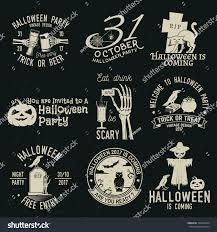 set halloween celebration collection retro grunge stock vector
