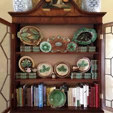 secretary styled with majolica books u0026 lusterware deborah