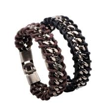 chain bracelet with leather images Wholesale braided leather silver stainless steel cuban chain jpg