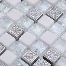 Stone Glass Tile Backsplash by Crystal Glass Mosaic Wall Tile White Stone Mosaic Glass Tiles