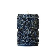buy online black embossed pillar candle for home decor