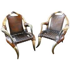 Antique Leather Armchairs For Sale Pair Of Antique African Large Bull Or Cow Horn Leather Armchairs