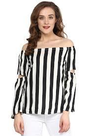 shoulder cut out blouse mono striped cut out sleeve shoulder top