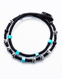 turquoise beads bracelet images Double wrap waxed cord knots bracelet with 925 silver skulls and jpg