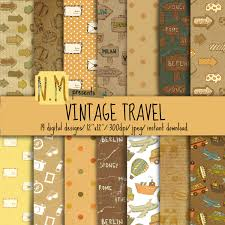 vintage travel digital paper pack travel digital pattern