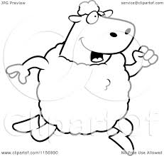 cartoon clipart of a black and white sheep running upright