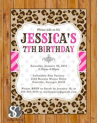 cheetah print party supplies leopard print birthday party invite pink stripes polka dots