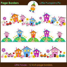 little house digital scrapbook page borders cute house