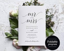 folded wedding program fold wedding program etsy