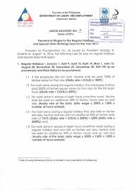 labor advisory for payment of wages for 2017 holidays