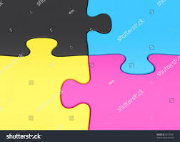 cymk puzzle cmyk jigsaw puzzle pieces closeup stock illustration 59155897