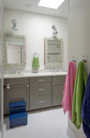 Double Vanity Mirrors For Bathroom by Hexagon Mirror Bathroom Transitional With Blue Step Stool Double