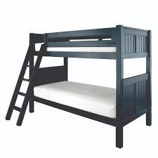 Black Wooden Bunk Beds Black Wooden Bunk Bed With White Bed Sheet And Black Wooden Stairs