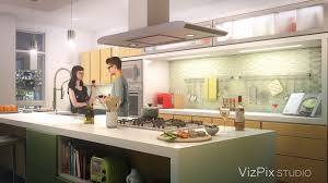 modern open concept kitchen vizpix studio 3d architectural visualization and animation