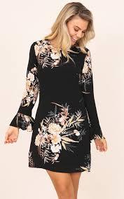 shift dress here for success shift dress in black floral showpo