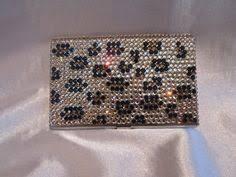 Bling Business Card Holder Swarovski Crystal Desk Full Crystal Coverage Clear Acrylic
