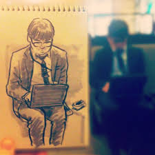 artist living in tokyo turns everyday scenes into speed sketches