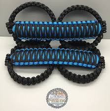 hydro blue jeep triple weave king cobra paracord front grab handle set jeep