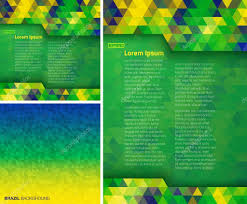 Geometric Flag Set Of Abstract Geometric Digital Backgrounds Using Brazil Flag