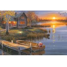 rivers edge autumn lake cabin led graphic on wrapped canvas