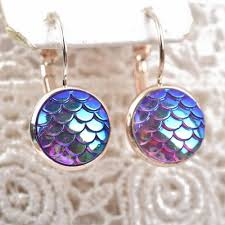 purple earrings mermaid earrings scale purple islandjay