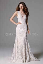 illusion deep v neck open back mermaid lace elegant wedding gown