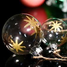 blown transparent glass ornament party christmas ball gold eight