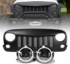 Jeep Jk Projector Headlights Halo U0026 Grille Free Shipping