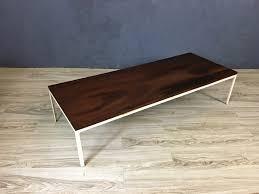 mid century wood and metal framed coffee table retrocraft design
