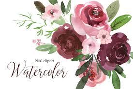 burgundy flowers watercolor pink burgundy flowers clip design bundles