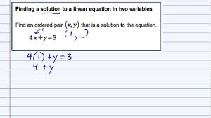 aleks finding a solution to a linear equation in two variables