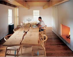 Oak Slab Table by Very Cool And Rustic Slab Table Wishbone Chairs Great Ideas
