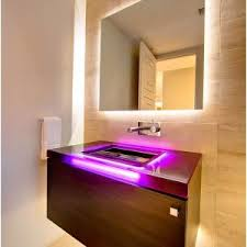 interior bathroom lighting over mirror image of small bathroom