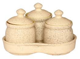 wholesale ceramic set of 3 pickle jars with lids u0026 tray u2013 hand