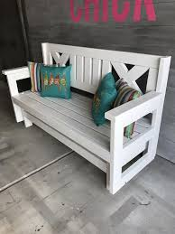 how to build a diy farmhouse outdoor glider bench free plans via