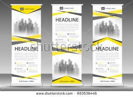 layout banner template yellow roll up banner stand template design flyer layout vector
