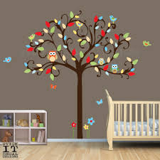 Owl Nursery Wall Decals by Owl Tree Decal Owl Decal Owl Nursery Decor Scroll Tree