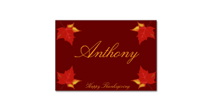brown custom thanksgiving place cards fall leaves zazzle